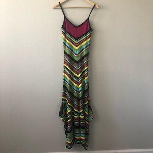 M Missoni knit striped multi color maxi dress US 2
